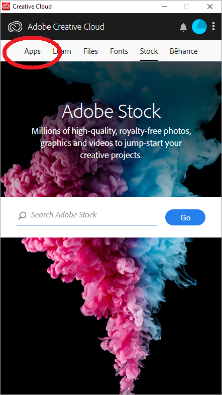 Applications Tab in Creative Cloud