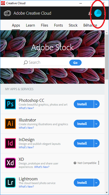 Adobe User Account Icon