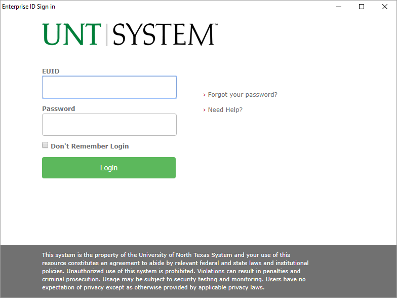 UNT Authentication Window