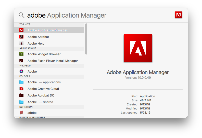 Adobe Application Manager in Spotlight search results